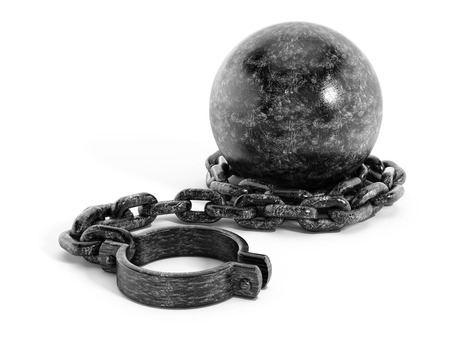 over burdened: Iron ball connected to shacle trough the chain