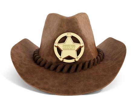 sheriff badge: Sombrero de vaquero con insignia de sheriff aisladas sobre fondo blanco