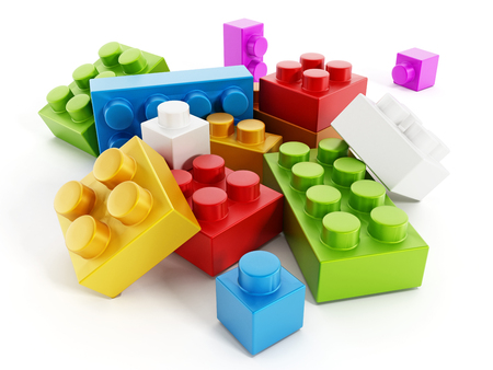 modular: Colorful building block toy parts isolated on white background Stock Photo
