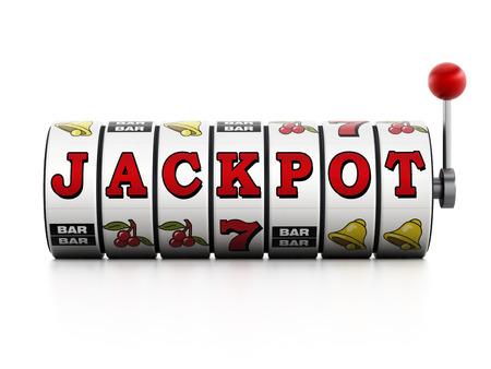 Slot machine showing jackpot word isolated on white background Stockfoto