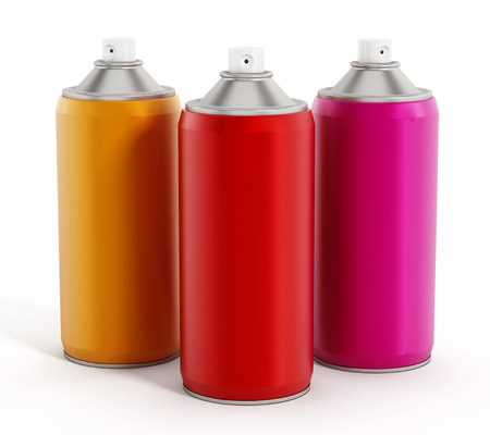 three layer: Spray cans isolated on white background