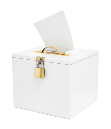election choices: White ballot box and vote paper isolated on white background.