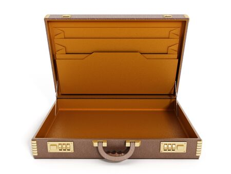 leather briefcase: Open empty vintage briefcase isolated on white background Stock Photo