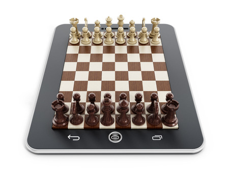 computer isolated: Chess pieces on tablet computer isolated on white background
