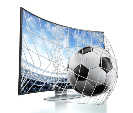 Ball and net going out of 3D curved TV with OLED screen. Stockfoto