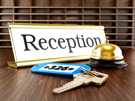 service bell: Hotel reception placard, service bell and room keys Stock Photo