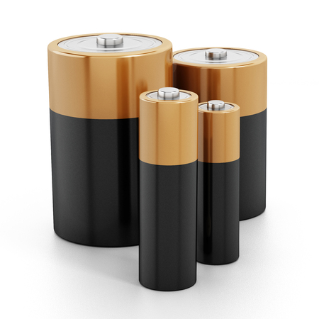 nimh: Batteries stack isolated on white background.