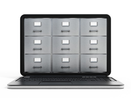 cabinets: File cabinets inside the screen of laptop computer Stock Photo