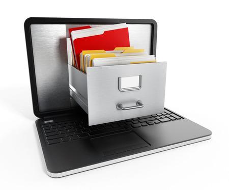 Gabinetes de archivos dentro de la pantalla de la computadora portátil