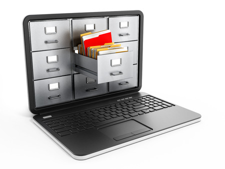 File cabinets inside the screen of laptop computer Foto de archivo