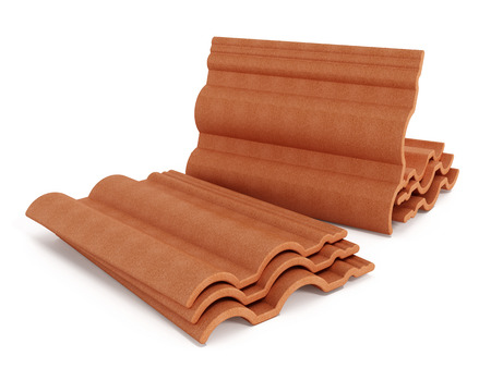 roof tiles: Red roof tiles isolated on white background