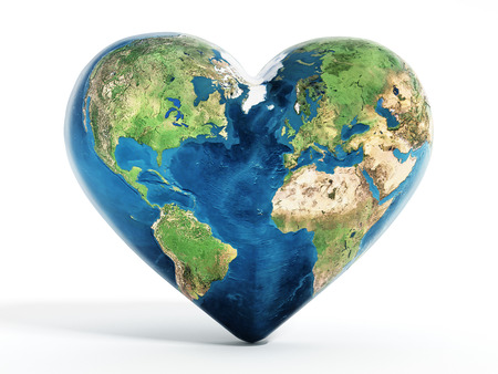 Heart shaped earth isolated on white background