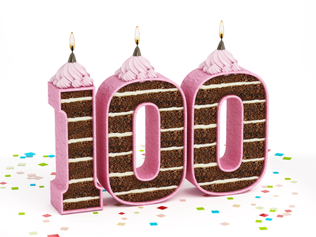 surprise party: Number 100 shaped chocolate birthday cake with lit candle isolated on white background.
