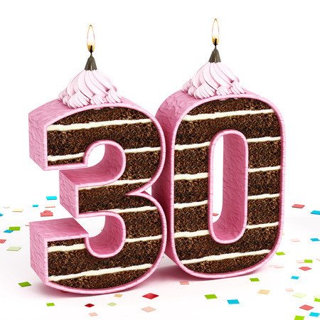 30 years: Number 30 shaped chocolate birthday cake with lit candle isolated on white background. Stock Photo