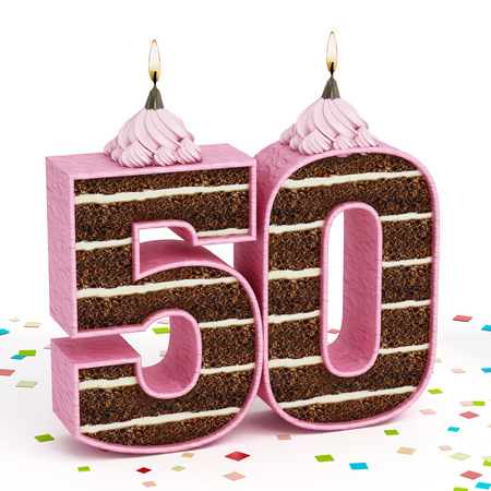 Number 50 shaped chocolate birthday cake with lit candle isolated on white background.