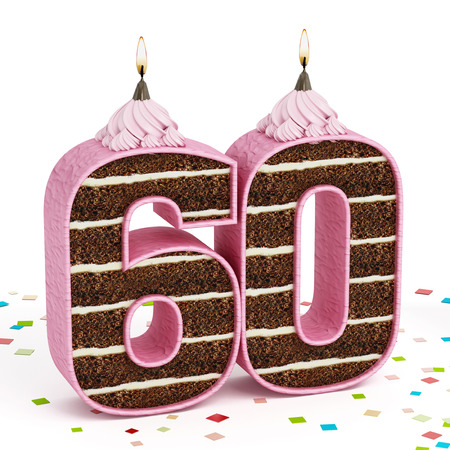 60 years: Number 60 shaped chocolate birthday cake with lit candle isolated on white background.