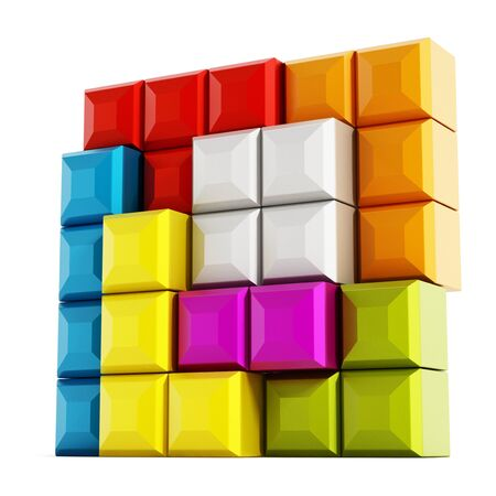 tetris: Colorful blocks forming a square isolated on white background Stock Photo