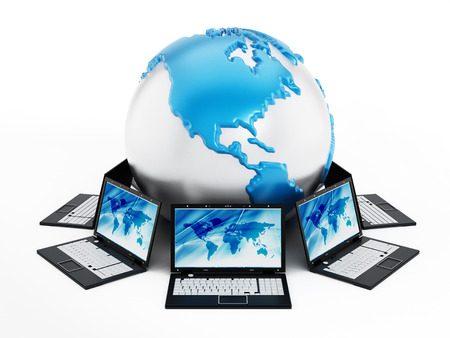 Global computer network with laptop computers around the globe Stock Photo