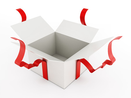 Open giftbox wrapped with ribbons isolated on white background Stockfoto