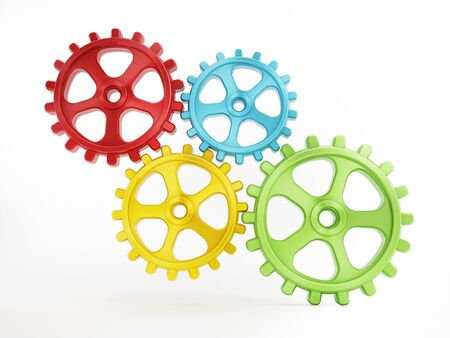 Multi-colored attached gears or cogwheels isolated on white background