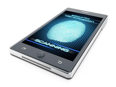 biometrics: Smart phone fingerprint authentication concept Stock Photo