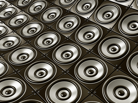 electronic music: Wall of speakers horizontal view