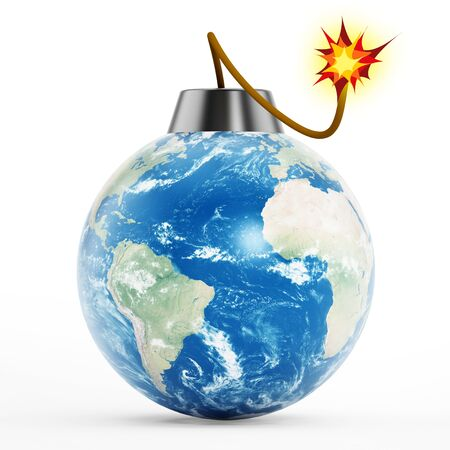 fuse: Earth bomb with burning fuse isolated on white background Stock Photo