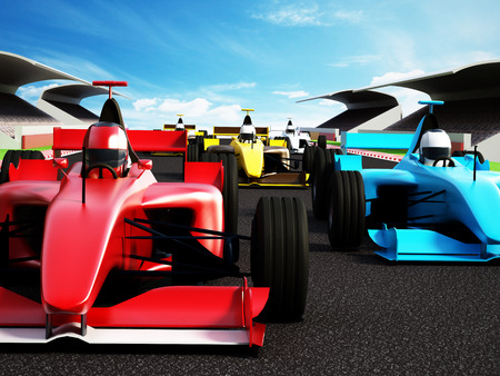 Car race showing red race car at the front