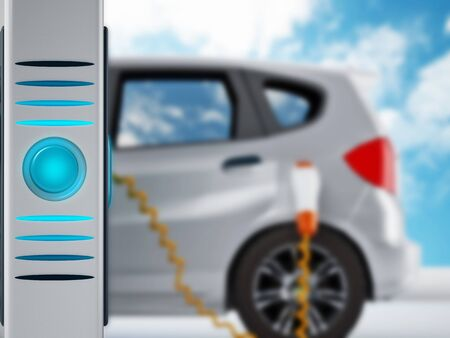 plugged in': Electric car plugged in a charging station