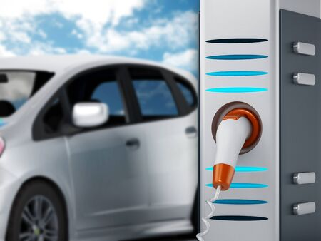 plugged in: Electric car plugged in a charging station