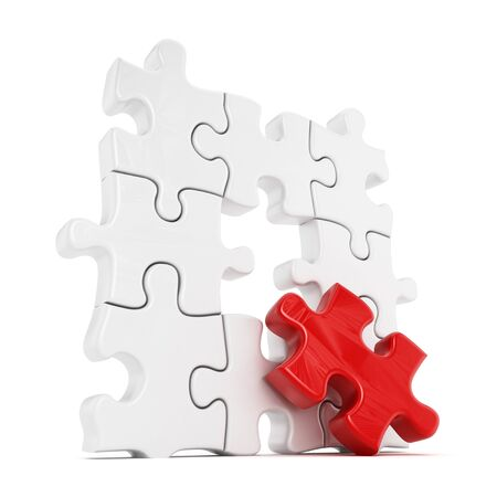 creativeness: Puzzle with one red part missing isolated on white background