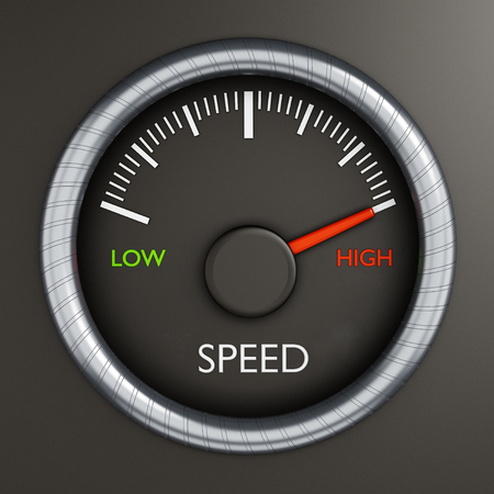 high speed: Speed meter indicates high performance