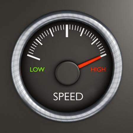 Speed meter indicates high performance
