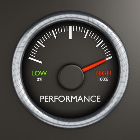 Performance meter indicates high performance Foto de archivo