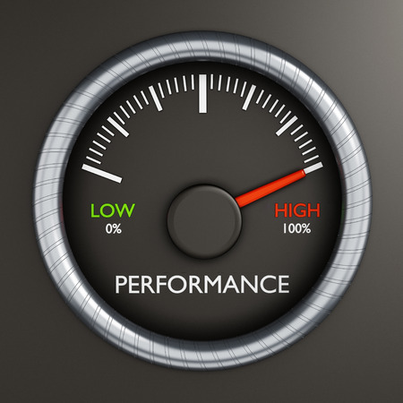 gauges: Performance meter indicates high performance Stock Photo