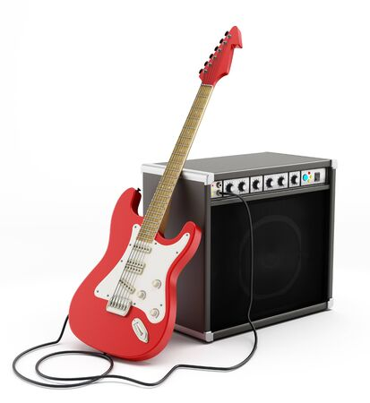 Electric guitar and amplifier isolated on white background