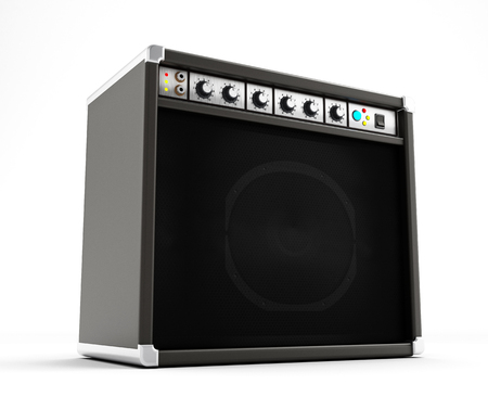 guitar amplifier: Amplifier isolated on white background Stock Photo