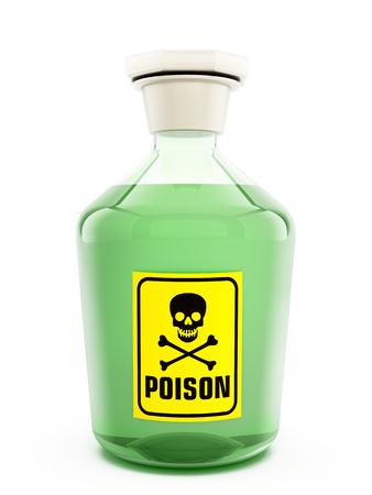 poison bottle: Botella de veneno que contiene una sustancia verde