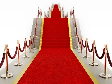 stanchion: Red carpet and velvet ropes leading to a staircase