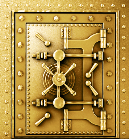 vaulted door: Gold sturdy vaulted door Stock Photo