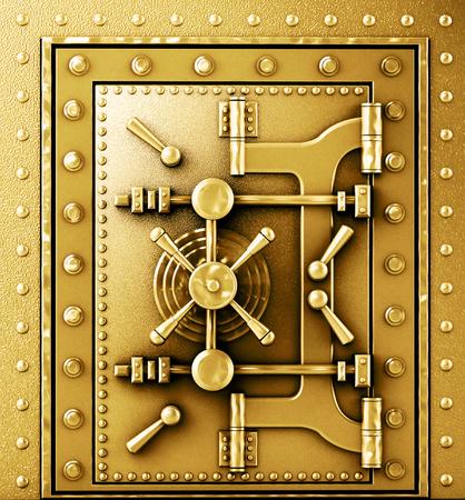 vaulted door: Gold sturdy vaulted door Stock Photo