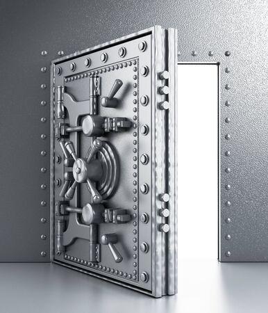 Metal sturdy and open vaulted door Stock Photo