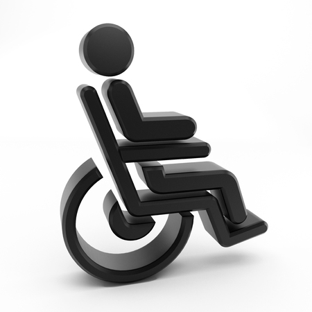 wheelchair: 3D Wheelchair icon with a sitting person isolated on white background Stock Photo