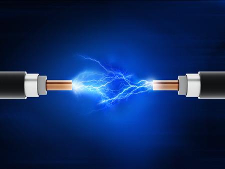 Die Kraftkabel mit funkelt auf blauem Hintergrund