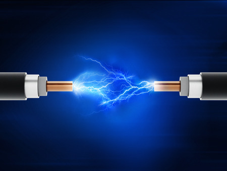 electrical cable: Power cables with sparkles on blue background
