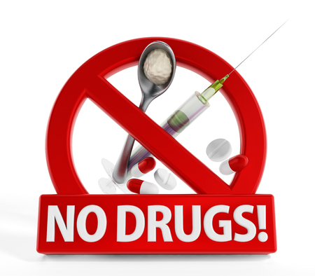 drugs: No drugs sign heroine syringe and pills isolated on white background