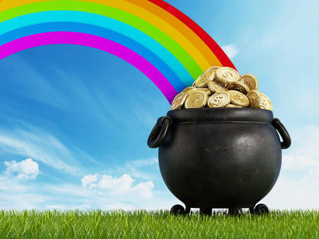 golden pot: Pot of gold at the end of the rainbow