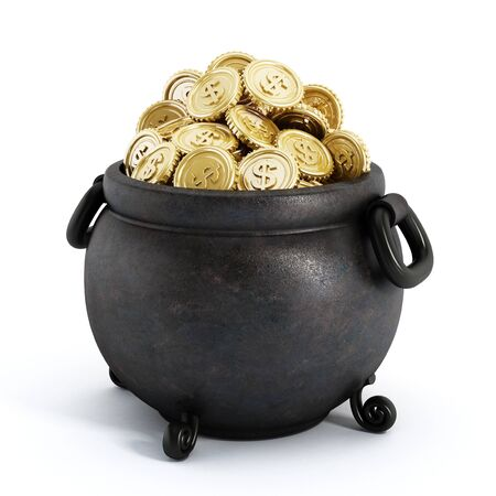Pot of gold isolated on white background