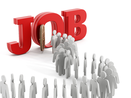 jobs people: People symbols entering the door in front of the word job