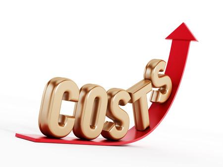 Stijgende kosten tekst op het pijltje Stockfoto